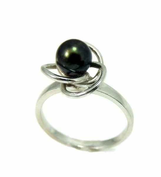 South Seas Black Tahitian Pearl Ring 14k White Gold - Premier Estate Gallery  - 1