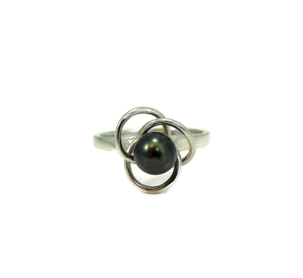 South Seas Black Tahitian Pearl Ring 14k White Gold - Premier Estate Gallery  - 2