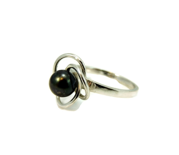 South Seas Black Tahitian Pearl Ring 14k White Gold - Premier Estate Gallery  - 5