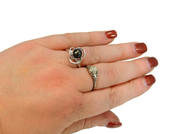 South Seas Black Tahitian Pearl Ring 14k White Gold - Premier Estate Gallery  - 4