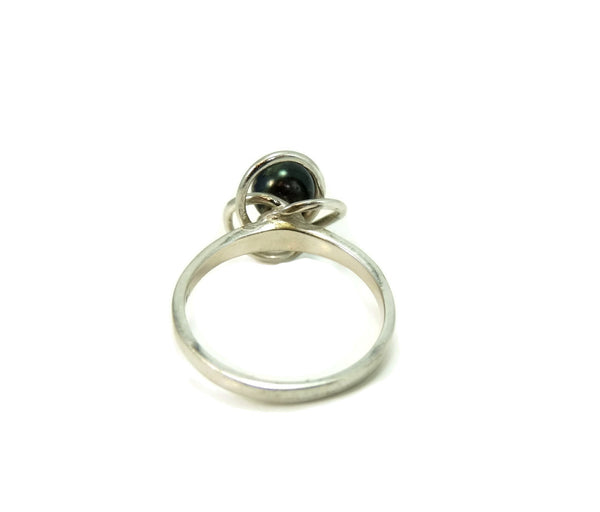 South Seas Black Tahitian Pearl Ring 14k White Gold - Premier Estate Gallery  - 7