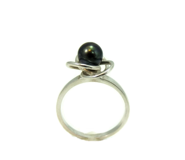 South Seas Black Tahitian Pearl Ring 14k White Gold - Premier Estate Gallery  - 3
