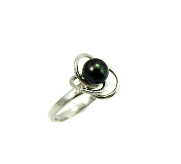 South Seas Black Tahitian Pearl Ring 14k White Gold - Premier Estate Gallery  - 8
