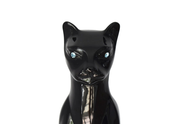 Black Cat Statue Ceramic MCM Life Size Blue Rhinestone Eyes - Premier Estate Gallery 2
