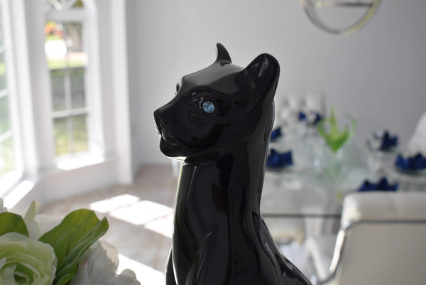 Black Cat Statue Ceramic MCM Life Size Blue Rhinestone Eyes