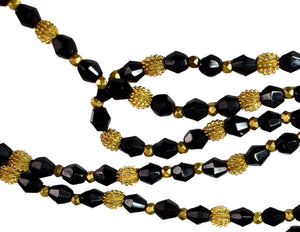 1920s Flapper Czech Glass Beads Necklace Long Black and Gold - Premier Estate Gallery