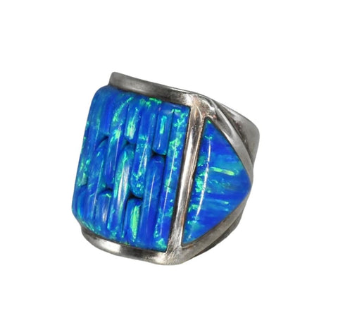 Vintage Silver Black Opal Ring Native American - Premier Estate Gallery 2