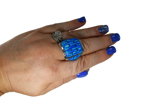 Vintage Silver Black Opal Ring Native American - Premier Estate Gallery 6