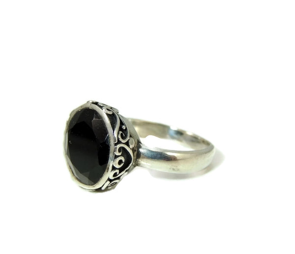 Vintage Onyx Ring Sterling Silver Ornate High Profile - Premier Estate Gallery  - 2