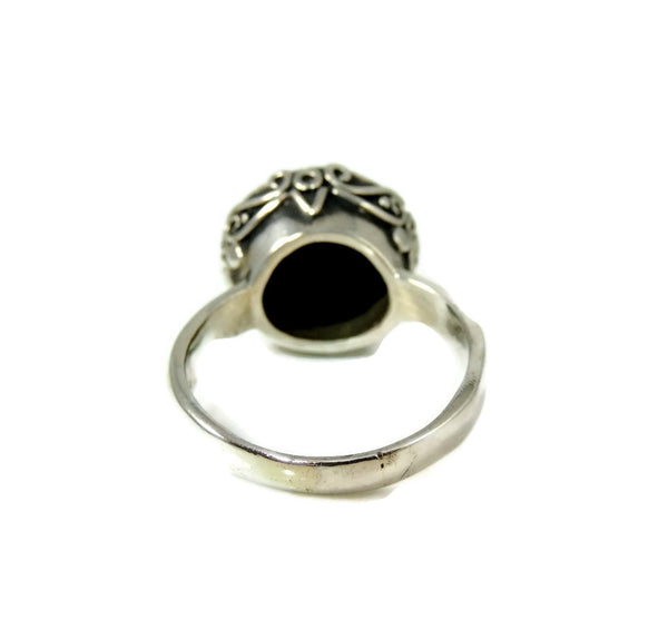 Vintage Onyx Ring Sterling Silver Ornate High Profile - Premier Estate Gallery  - 3