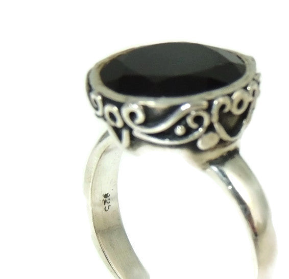 Vintage Onyx Ring Sterling Silver Ornate High Profile - Premier Estate Gallery  - 4