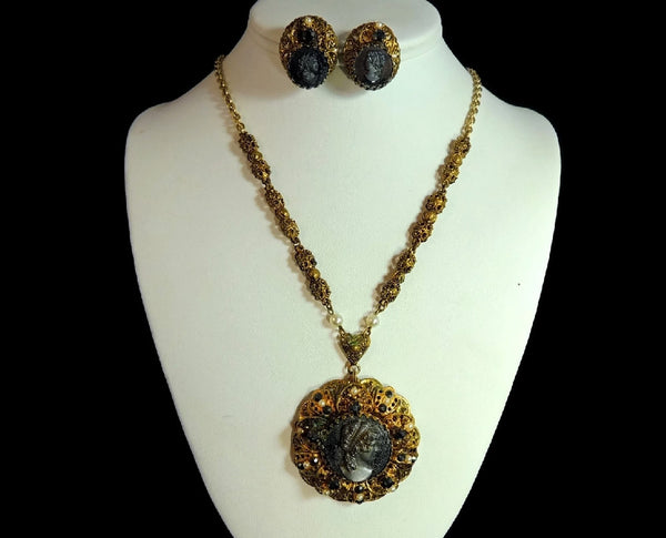 Victorian Style Cameo Jewelry Set Vintage W. Germany - Premier Estate Gallery  - 2