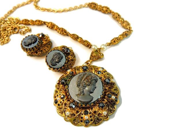 Victorian Style Cameo Jewelry Set Vintage W. Germany