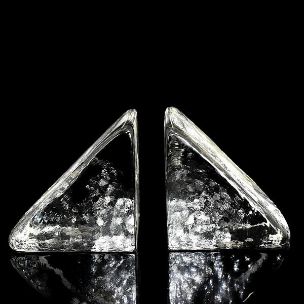 Minimalist Blenko Art Glass Bookends Ice Block Design Original Labels Vintage - Premier Estate Gallery 3