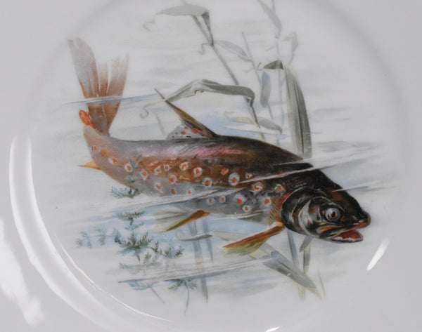 Antique Porcelain Fish Platter Fish Plate Set B. Bloch Eichwald Porcelain 10 pc
