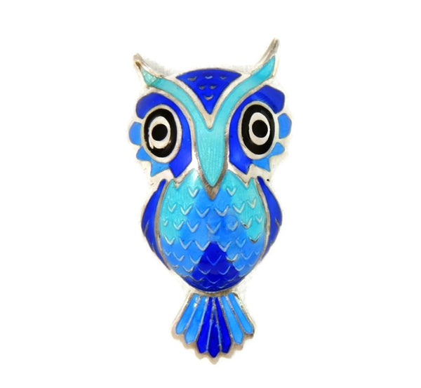 Vintage Silver Enamel Owl Brooch Convex Body Ombre Blues - Premier Estate Gallery