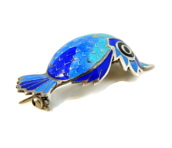 Vintage Silver Enamel Owl Brooch Convex Body Ombre Blues
