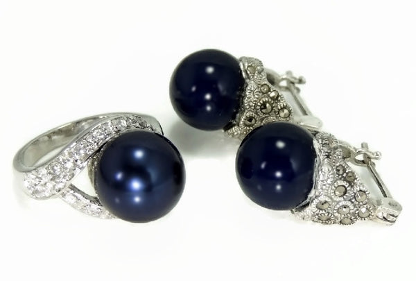 Navy Blue Faux Pearl Cocktail Ring and Earrings Set 18k GF and Silver Contemporary Vintage - Premier Estate Gallery  - 1