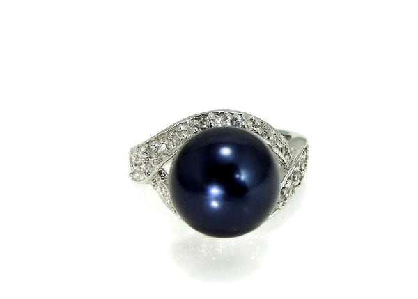 Navy Blue Faux Pearl Cocktail Ring and Earrings Set 18k GF and Silver Contemporary Vintage - Premier Estate Gallery  - 2