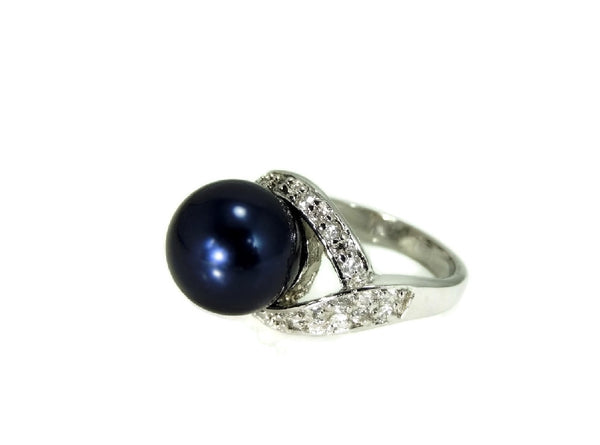 Navy Blue Faux Pearl Cocktail Ring and Earrings Set 18k GF and Silver Contemporary Vintage - Premier Estate Gallery  - 3