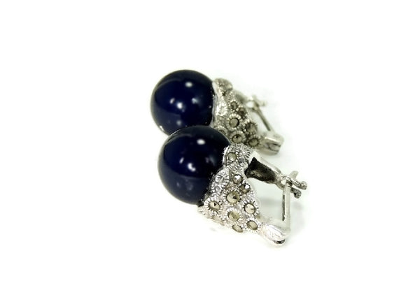Navy Blue Faux Pearl Cocktail Ring and Earrings Set 18k GF and Silver Contemporary Vintage - Premier Estate Gallery  - 4