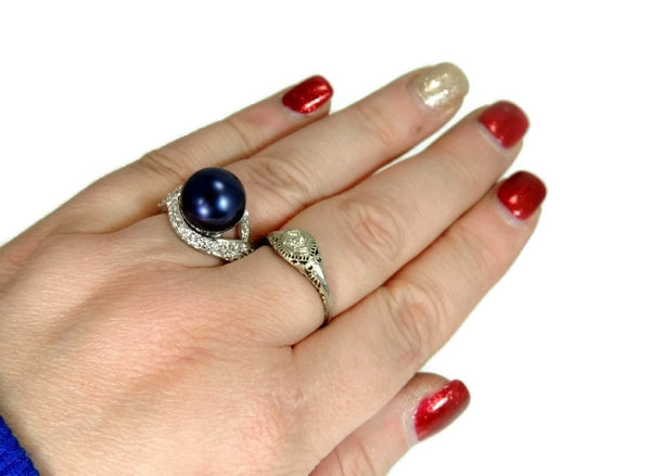 Navy Blue Faux Pearl Cocktail Ring and Earrings Set 18k GF and Silver Contemporary Vintage - Premier Estate Gallery  - 5