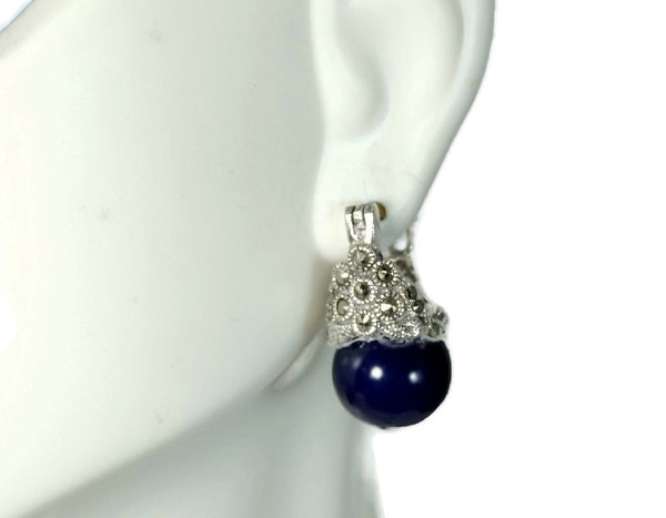 Navy Blue Faux Pearl Cocktail Ring and Earrings Set 18k GF and Silver Contemporary Vintage - Premier Estate Gallery  - 6