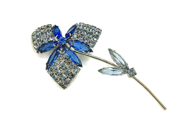 1960s Rhinestone Flower Brooch Dazzling Shades of Blue - Premier Estate Gallery  - 2