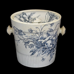 Antique Ironstone Slop Pot Chamber Pot Blue & White Transfer Romantic Decor - Premier Estate Gallery