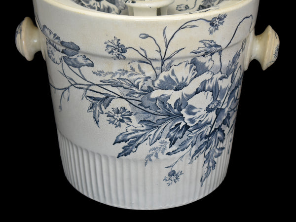 Antique Ironstone Slop Pot Chamber Pot Blue & White Transfer Romantic Decor - Premier Estate Gallery 1