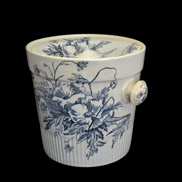 Antique Ironstone Slop Pot Chamber Pot Blue & White Transfer Romantic Decor - Premier Estate Gallery 2