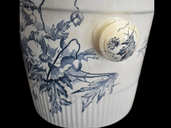 Antique Ironstone Slop Pot Chamber Pot Blue & White Transfer Romantic Decor