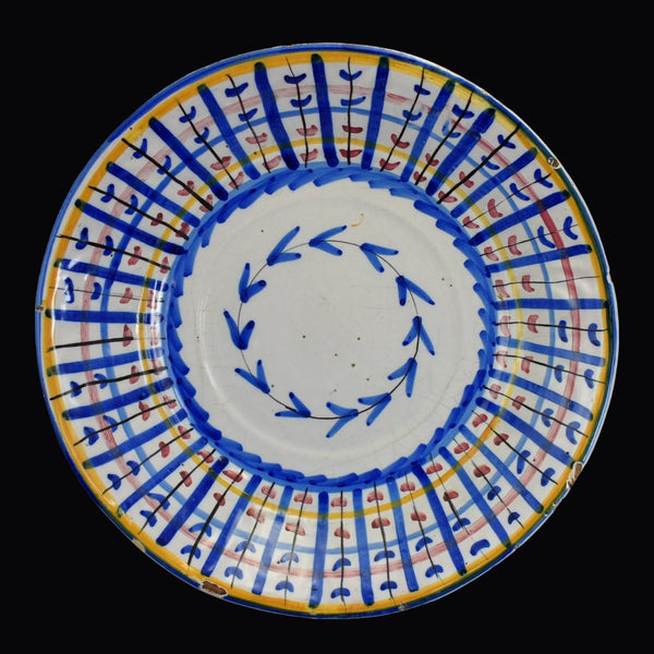 19th Century Faience Large Bowl Colorful Tin Glaze Spain 1