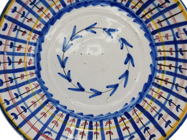 19th Century Faience Large Bowl Colorful Tin Glaze Spain 2