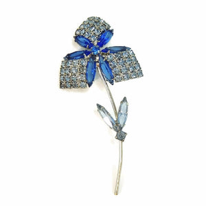 1960s Rhinestone Flower Brooch Dazzling Shades of Blue - Premier Estate Gallery  - 1