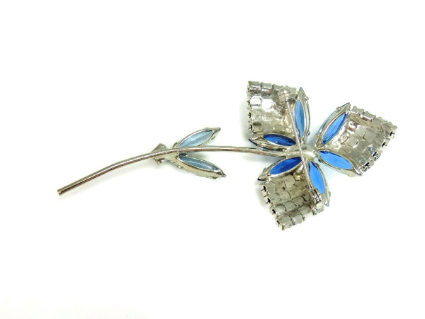 1960s Rhinestone Flower Brooch Dazzling Shades of Blue - Premier Estate Gallery  - 4