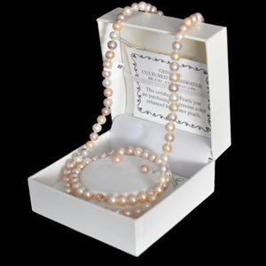 14k Blush Freshwater Pearl Jewelry Set NOS Necklace Bracelet Earrings - Premier Estate Gallery