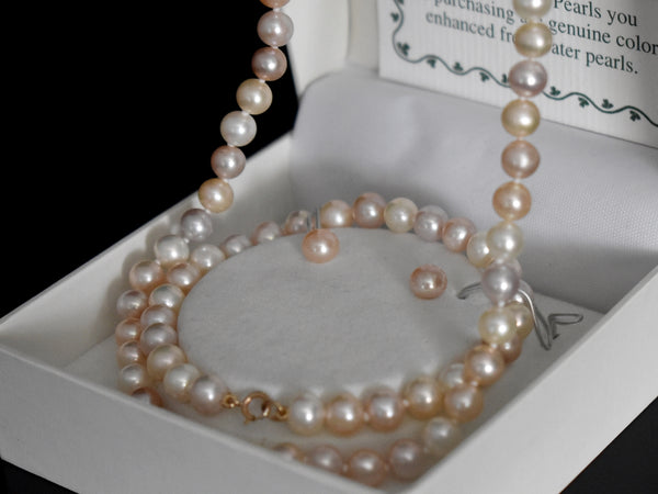 14k Blush Freshwater Pearl Jewelry Set NOS Necklace Bracelet Earrings - Premier Estate Gallery 1