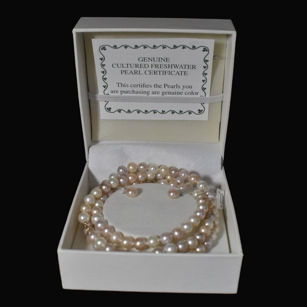 14k Blush Freshwater Pearl Jewelry Set NOS Necklace Bracelet Earrings
