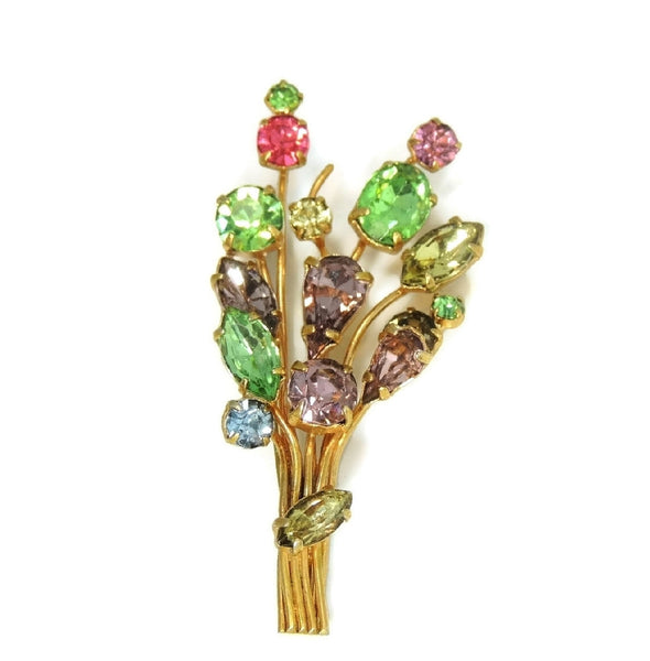 Vintage Colorful Rhinestone Bouquet Brooch Pastels - Premier Estate Gallery  - 1