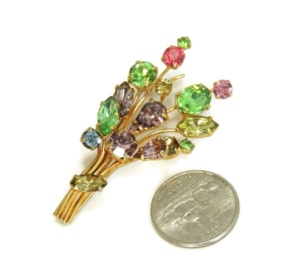 Vintage Colorful Rhinestone Bouquet Brooch Pastels - Premier Estate Gallery  - 2