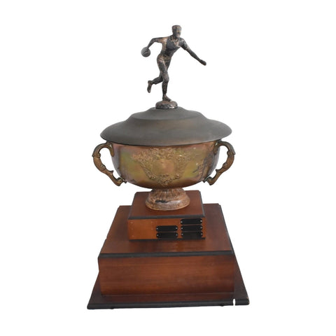 Vintage BIG Silver Plate Bowling Trophy Loving Cup on Raised Base  - Premier Estate Gallery