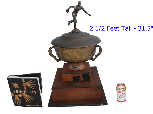 Vintage BIG Silver Plate Bowling Trophy Loving Cup on Raised Base  - Premier Estate Gallery 1