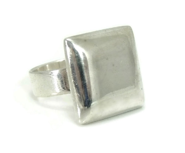 Vintage Mod Style Silver Cube Ring Unisex Big Bold Cubist