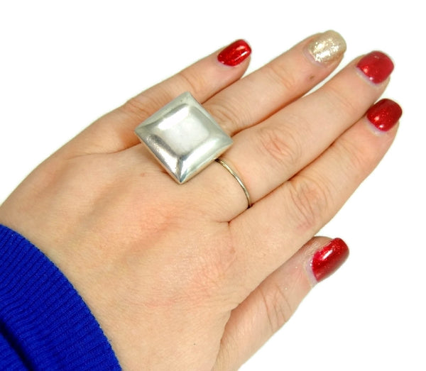 Vintage Mod Style Silver Cube Ring Unisex Big Bold Cubist - Premier Estate Gallery  - 2