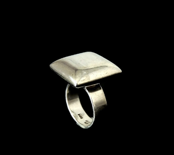 Vintage Mod Style Silver Cube Ring Unisex Big Bold Cubist - Premier Estate Gallery  - 4
