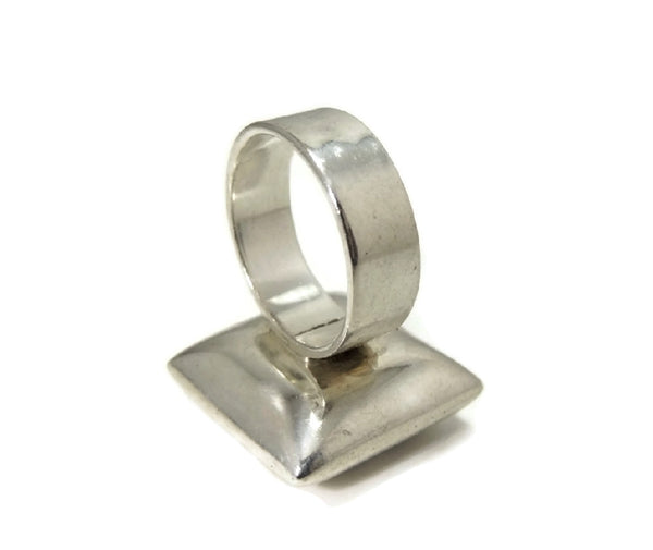 Vintage Mod Style Silver Cube Ring Unisex Big Bold Cubist - Premier Estate Gallery  - 6