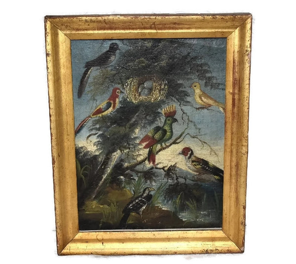 Folk Art Painting Birds of Paradise 19th Century in Gilt Frame