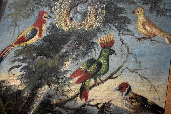 Folk Art Painting Birds of Paradise 19th Century in Gilt Frame - Premier Estate Gallery 2