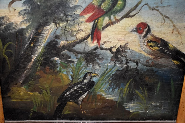 Folk Art Painting Birds of Paradise 19th Century in Gilt Frame - Premier Estate Gallery 3